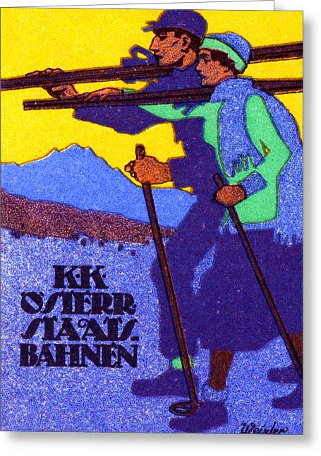 1910 Austrian Ski Poster Greeting Card by Historic Image