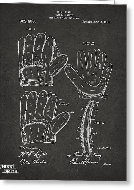 Ball Room Greeting Cards - 1910 Baseball Glove Patent Artwork - Gray Greeting Card by Nikki Marie Smith