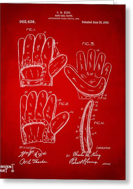 Baseball Glove Greeting Cards - 1910 Baseball Glove Patent Artwork Red Greeting Card by Nikki Marie Smith