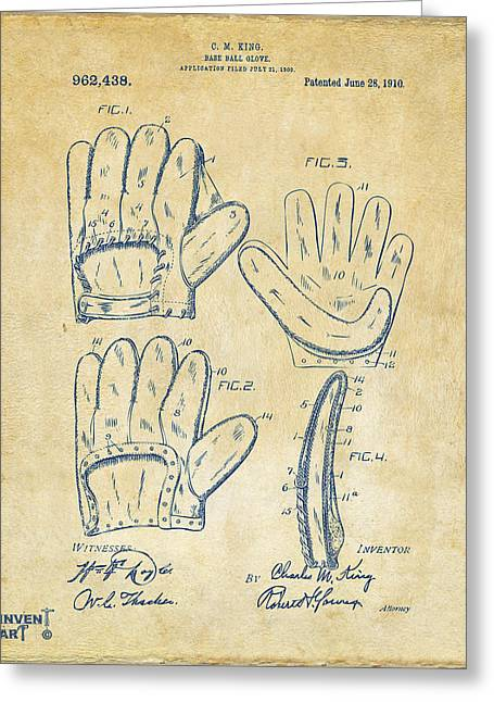 Baseball Glove Greeting Cards - 1910 Baseball Glove Patent Artwork Vintage Greeting Card by Nikki Marie Smith