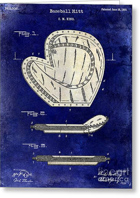 Baseball Gloves Photographs Greeting Cards - 1910 Baseball Patent Drawing 2 Tone Blue Greeting Card by Jon Neidert