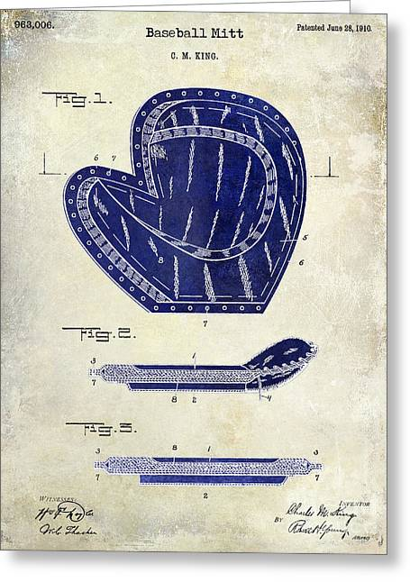 1910 Baseball Patent Drawing 2 Tone Greeting Card by Jon Neidert