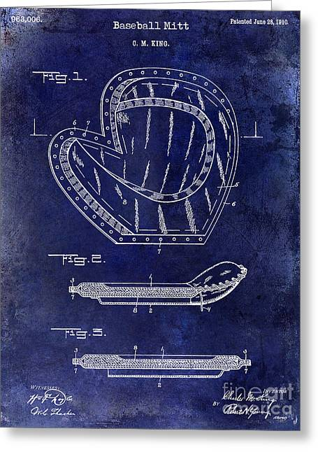 Base Balls Greeting Cards - 1910 Baseball Patent Drawing Blue Greeting Card by Jon Neidert