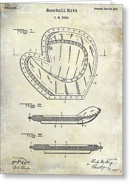 Baseball Gloves Photographs Greeting Cards - 1910 Baseball Patent Drawing Greeting Card by Jon Neidert