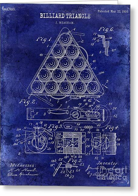 Billiard Greeting Cards - 1910 Billiard Triangle Patent Drawing Blue Greeting Card by Jon Neidert