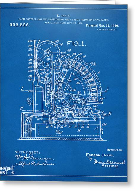 Coins Greeting Cards - 1910 Cash Register Patent Blueprint Greeting Card by Nikki Marie Smith