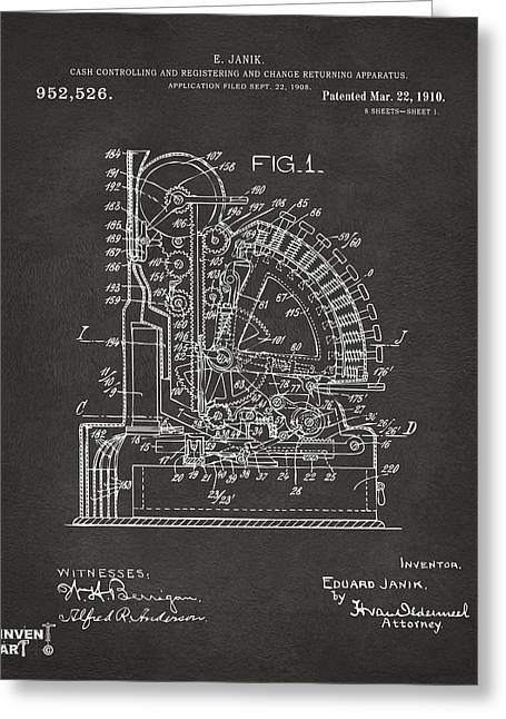 Coins Greeting Cards - 1910 Cash Register Patent Gray Greeting Card by Nikki Marie Smith
