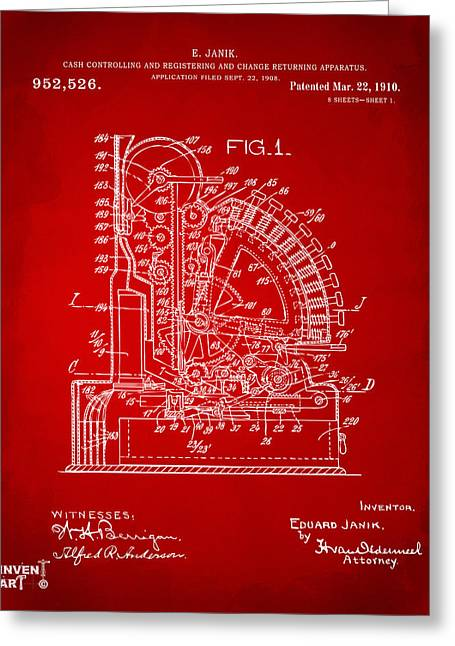 Coins Greeting Cards - 1910 Cash Register Patent Red Greeting Card by Nikki Marie Smith