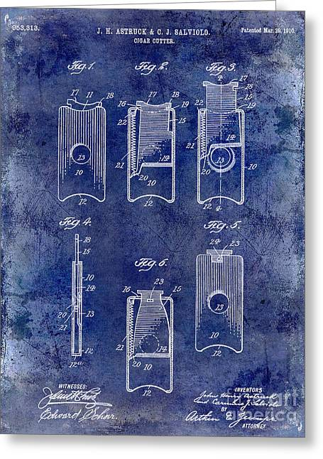 Cigar Greeting Cards - 1910 Cigar Cutter Patent Drawing Blue Greeting Card by Jon Neidert