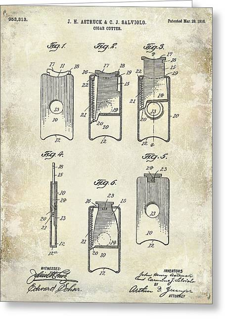 Cigar Greeting Cards - 1910 Cigar Cutter Patent Drawing Greeting Card by Jon Neidert