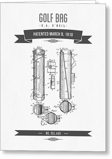 Caddy Greeting Cards - 1910 Golf Bag Patent Drawing - Retro Gray Greeting Card by Aged Pixel