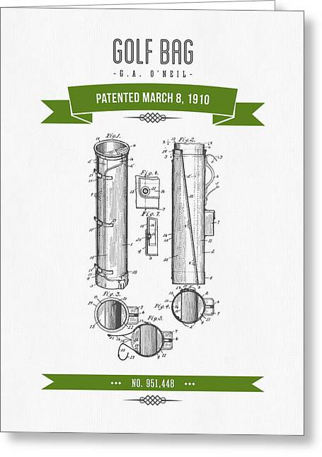 Caddy Greeting Cards - 1910 Golf Bag Patent Drawing - Retro Green Greeting Card by Aged Pixel