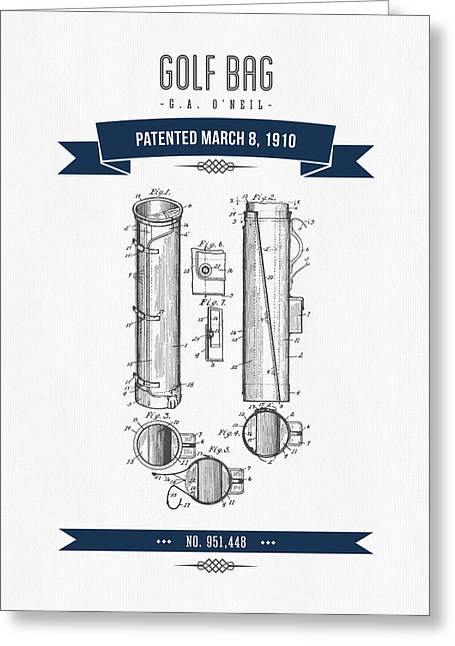 Caddy Greeting Cards - 1910 Golf Bag Patent Drawing - Retro Navy Blue Greeting Card by Aged Pixel