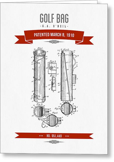 Caddy Greeting Cards - 1910 Golf Bag Patent Drawing - Retro Red Greeting Card by Aged Pixel
