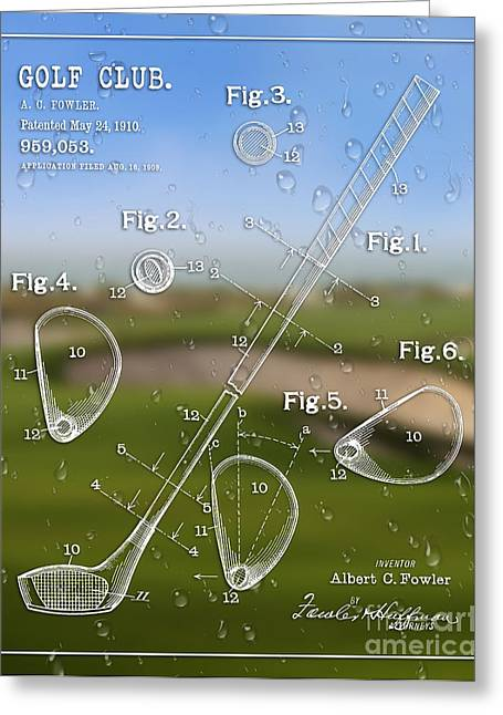 Balls Framed Prints Greeting Cards - 1910 Golf Club Patent Art A.C Fowler 1 Greeting Card by Nishanth Gopinathan
