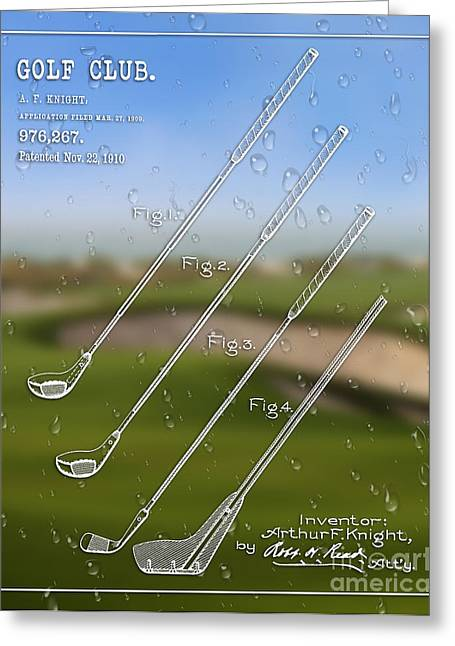 Balls Framed Prints Greeting Cards - 1910 Golf Club Patent Art A.F. Knight Greeting Card by Nishanth Gopinathan