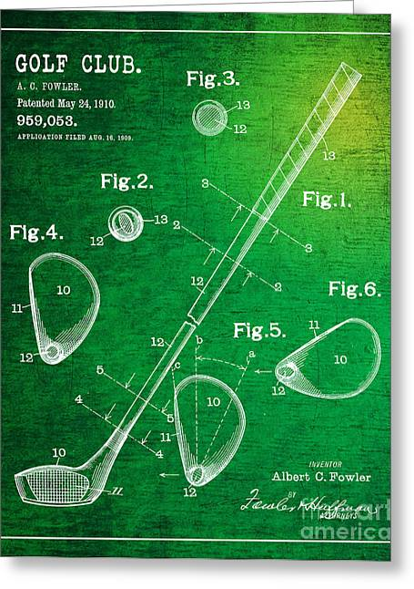 Balls Framed Prints Greeting Cards - 1910 Golf Club Patent Art Albert C. Fowler 2 Greeting Card by Nishanth Gopinathan