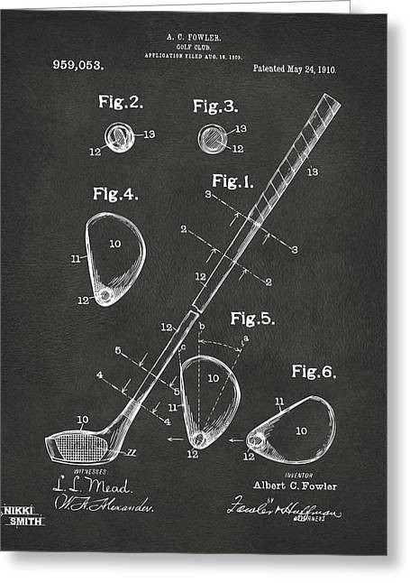 Golf Greeting Cards - 1910 Golf Club Patent Artwork - Gray Greeting Card by Nikki Marie Smith