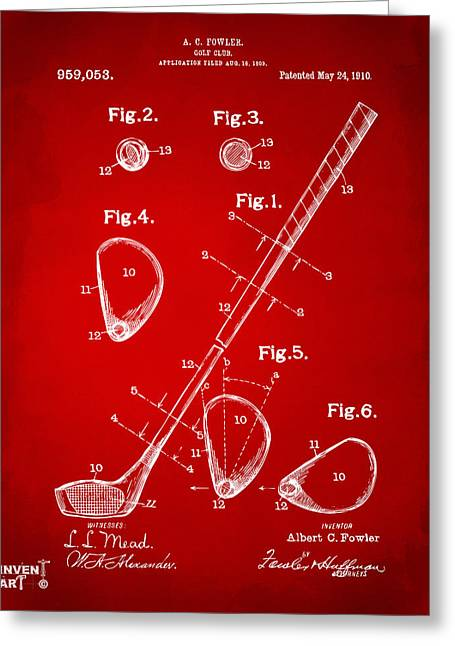 Putter Greeting Cards - 1910 Golf Club Patent Artwork Red Greeting Card by Nikki Marie Smith