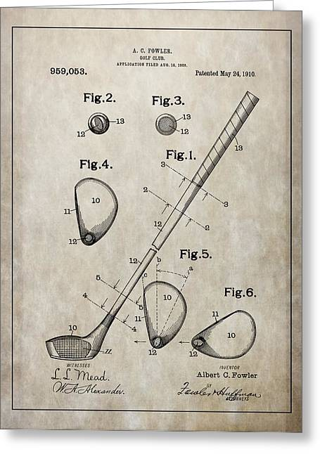 Chipper Greeting Cards - 1910 Golf Club Patent Greeting Card by Dan Sproul