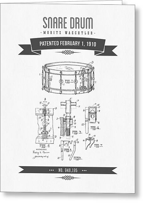 1910 Snare Drum Patent Drawing Greeting Card by Aged Pixel