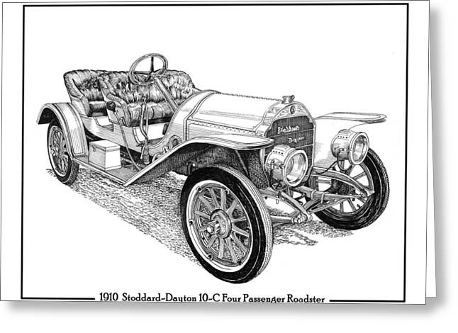 Indy Car Greeting Cards - 1910 Stoddard Dayton 10 C Roadster Greeting Card by Jack Pumphrey