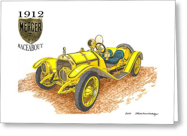 1911 1912 Mercer Raceabout R 35 Greeting Card by Jack Pumphrey