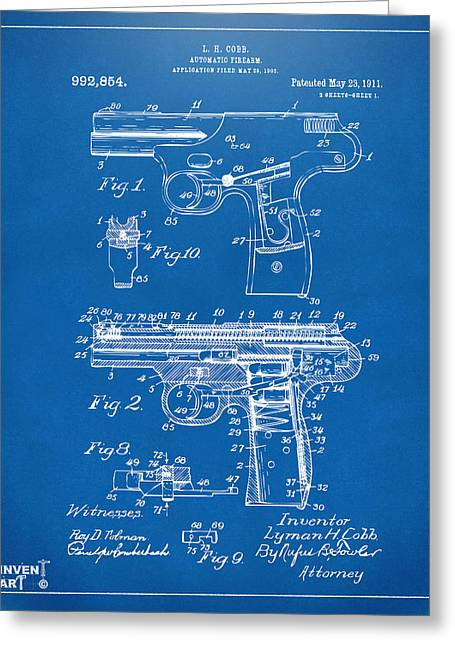 Law Enforcement Greeting Cards - 1911 Automatic Firearm Patent Artwork - Blueprint Greeting Card by Nikki Marie Smith