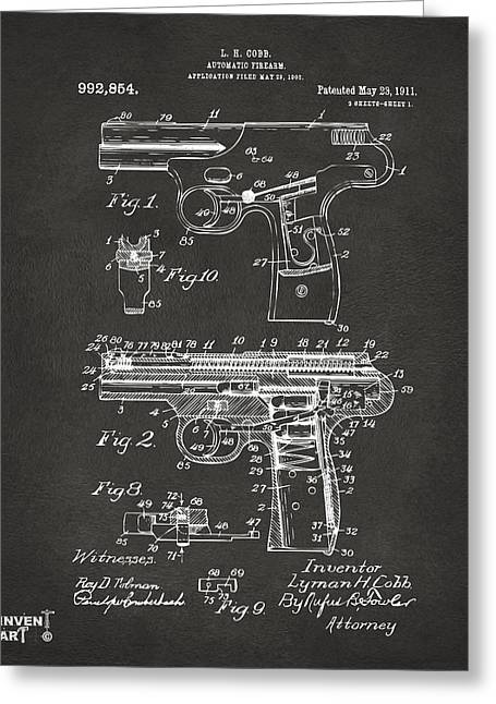 Bangs Greeting Cards - 1911 Automatic Firearm Patent Artwork - Gray Greeting Card by Nikki Marie Smith