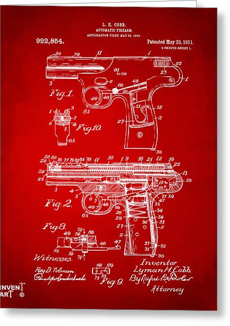 Police Greeting Cards - 1911 Automatic Firearm Patent Artwork - Red Greeting Card by Nikki Marie Smith