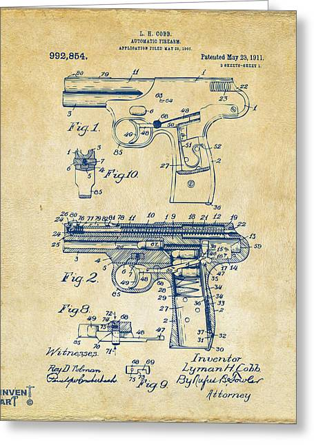 Police Greeting Cards - 1911 Automatic Firearm Patent Artwork - Vintage Greeting Card by Nikki Marie Smith