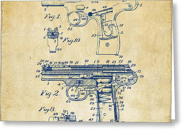 1911 Automatic Firearm Patent Artwork - Vintage Greeting Card by Nikki Marie Smith