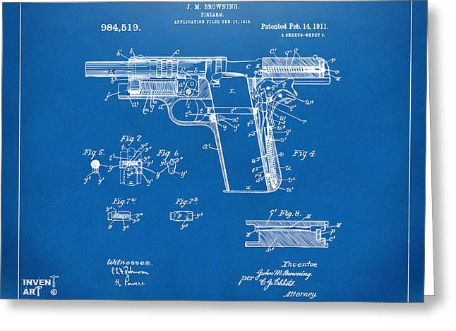 45 Greeting Cards - 1911 Colt 45 Browning Firearm Patent 2 Artwork Blueprint Greeting Card by Nikki Marie Smith