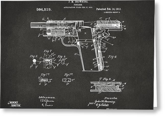 Patent Artwork Greeting Cards - 1911 Colt 45 Browning Firearm Patent 2 Artwork - Gray Greeting Card by Nikki Marie Smith