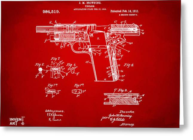45 Greeting Cards - 1911 Colt 45 Browning Firearm Patent 2 Artwork Red Greeting Card by Nikki Marie Smith