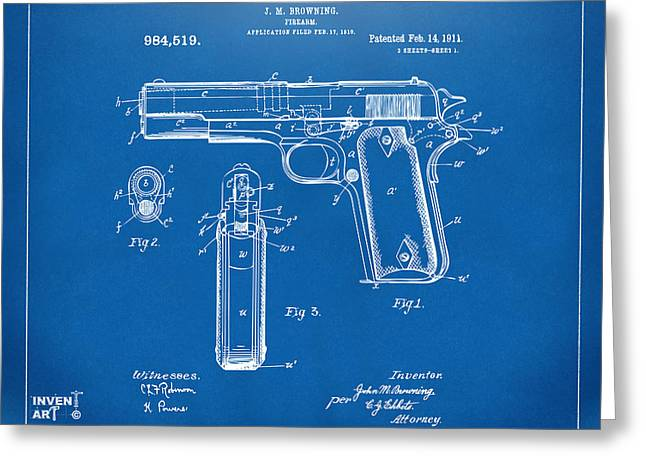 Patent Artwork Greeting Cards - 1911 Colt 45 Browning Firearm Patent Artwork Blueprint Greeting Card by Nikki Marie Smith