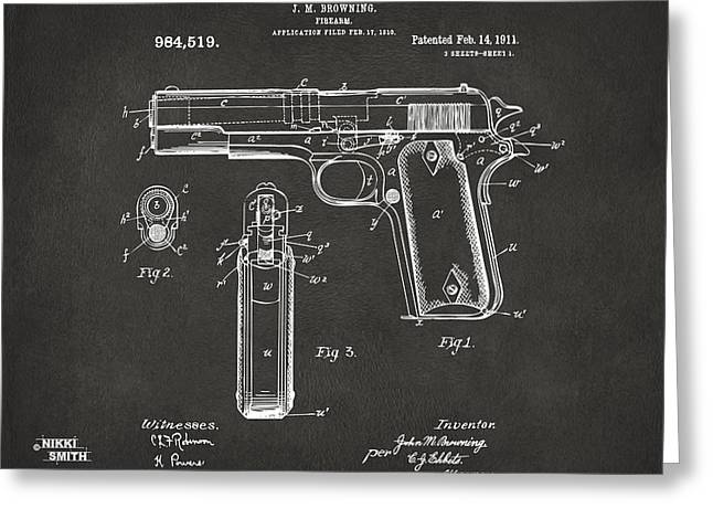 Grey Fine Art Greeting Cards - 1911 Browning Firearm Patent Artwork - Gray Greeting Card by Nikki Marie Smith