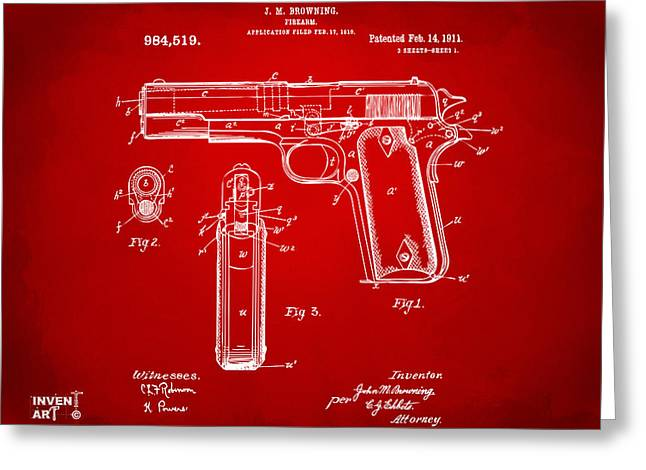 Patent Artwork Greeting Cards - 1911 Colt 45 Browning Firearm Patent Artwork Red Greeting Card by Nikki Marie Smith