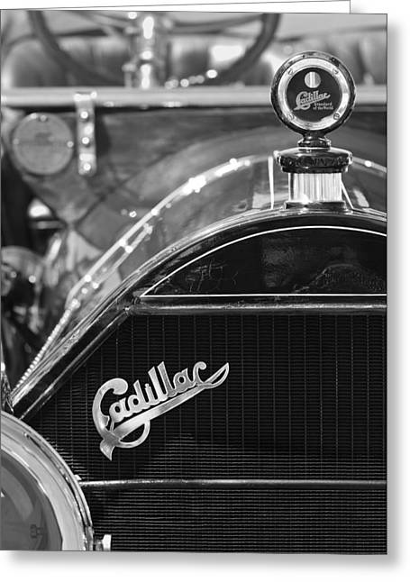 Roadster Grill Greeting Cards - 1911 Cadillac Roadster Grille and Hood Ornament Greeting Card by Jill Reger
