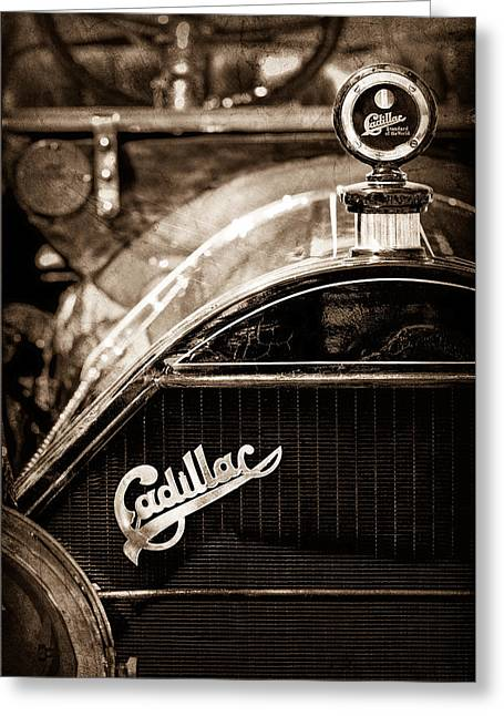Roadster Grill Greeting Cards - 1911 Cadillac Roadster Hood Ornament - Grille Emblem Greeting Card by Jill Reger