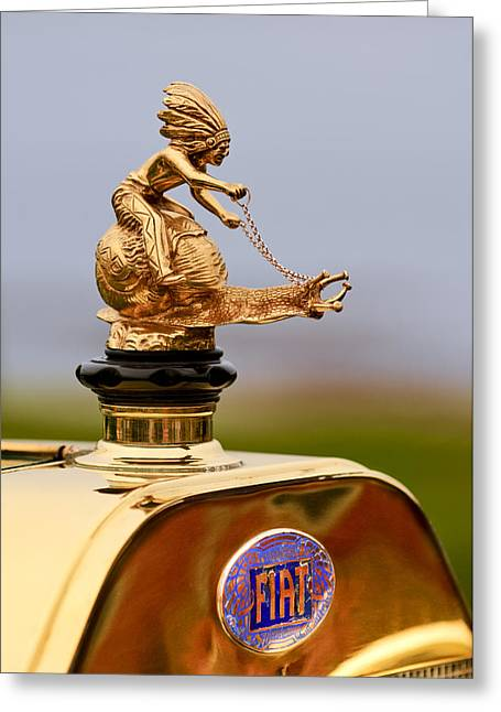 Pebble Beach Car Show Greeting Cards - 1911 Fiat Tipo 6 Holbrook 4 Passenger Demi-Tonneau Hood Ornament Greeting Card by Jill Reger