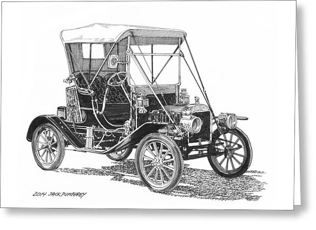 Drawing Of The Factory Drawings Greeting Cards - 1911 Ford Model T Tin Lizzie Greeting Card by Jack Pumphrey