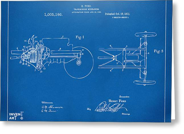 Patent Artwork Greeting Cards - 1911 Henry Ford Transmission Patent Blueprint Greeting Card by Nikki Marie Smith