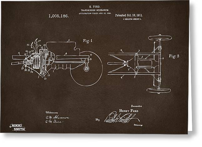 Conversations Greeting Cards - 1911 Henry Ford Transmission Patent Espresso Greeting Card by Nikki Marie Smith