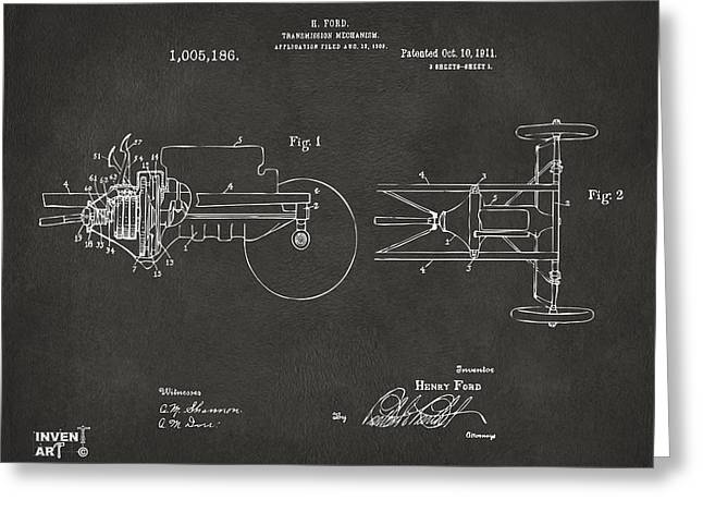 Best Sellers -  - Ford Model T Car Greeting Cards - 1911 Henry Ford Transmission Patent Gray Greeting Card by Nikki Marie Smith