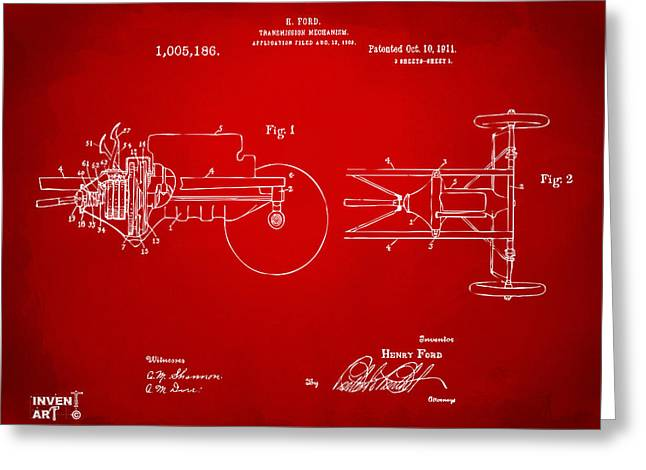 Conversations Greeting Cards - 1911 Henry Ford Transmission Patent Red Greeting Card by Nikki Marie Smith