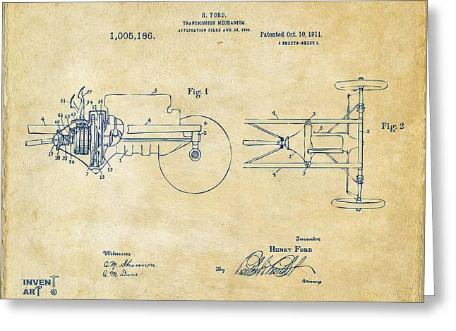 Conversations Greeting Cards - 1911 Henry Ford Transmission Patent Vintage Greeting Card by Nikki Marie Smith