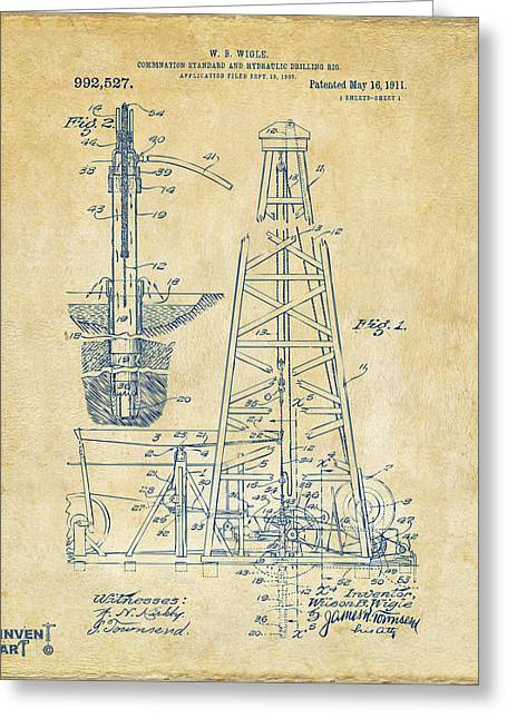 Baron Greeting Cards - 1911 Oil Drilling Rig Patent Artwork - Vintage Greeting Card by Nikki Marie Smith