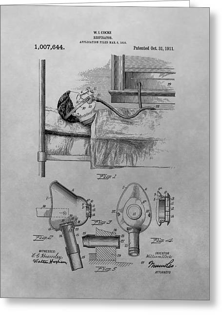Support Drawings Greeting Cards - 1911 Respirator Patent Drawing Greeting Card by Dan Sproul