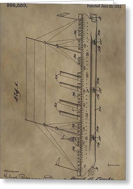 Sailing Ship Mixed Media Greeting Cards - 1911 Steamship Patent Greeting Card by Dan Sproul